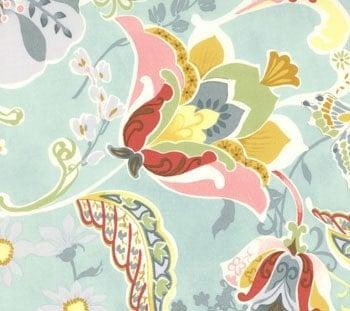 Chez Moi Posh fabric for Moda Gorgeous Spa Blue Floral Paisley