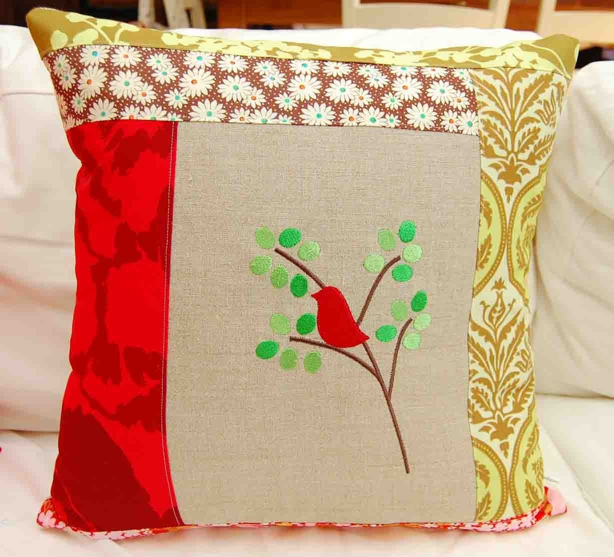 Red Robin Patchwork Pillow Cover 18 inch