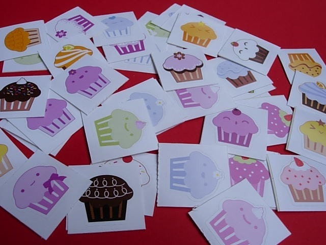 Cute Cupcake Stickers - Set of 24