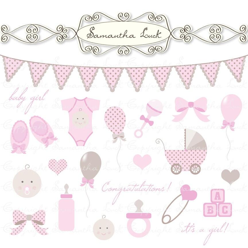 clip art baby girl. Baby Girl Clip Art Kit