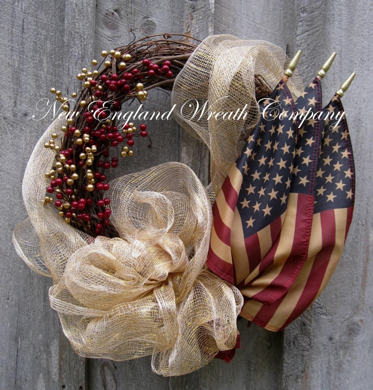 Americana Wreath Patriotic Fourth Of July By Newenglandwreath