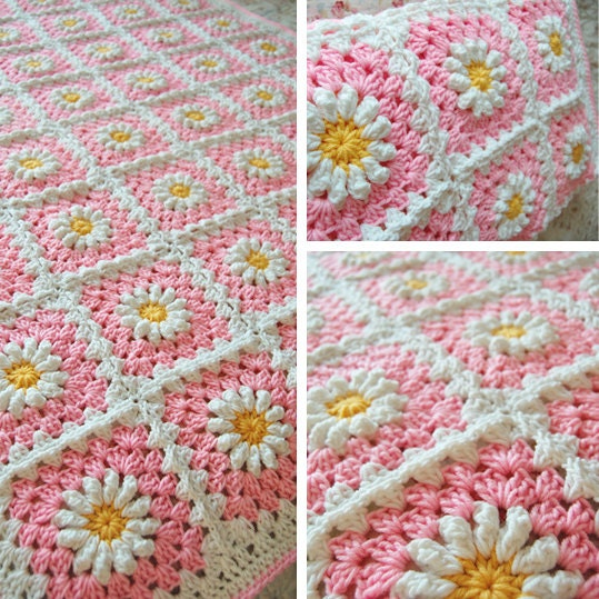 Order - Daisy Flower Pink Granny Square Patchwork Baby Granny Square ...