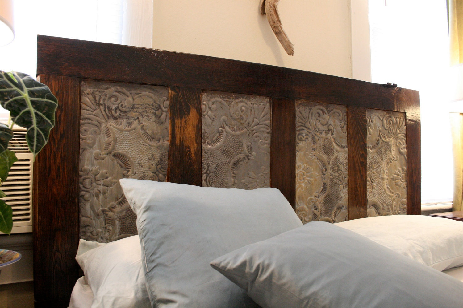 Headboard Made From Tin Ceiling Tiles