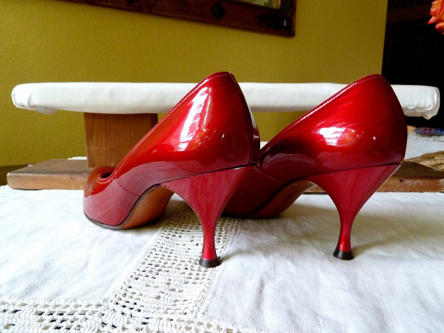 Vintage 1950's Candie Apple Patent Leather Red Pump Shoe, Retro Fashions