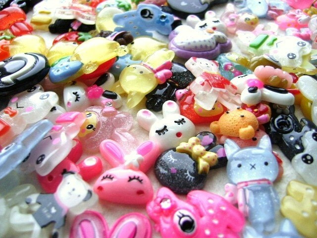 Wholesale Cute Characters 75 MIX Cabochons Charms SET B