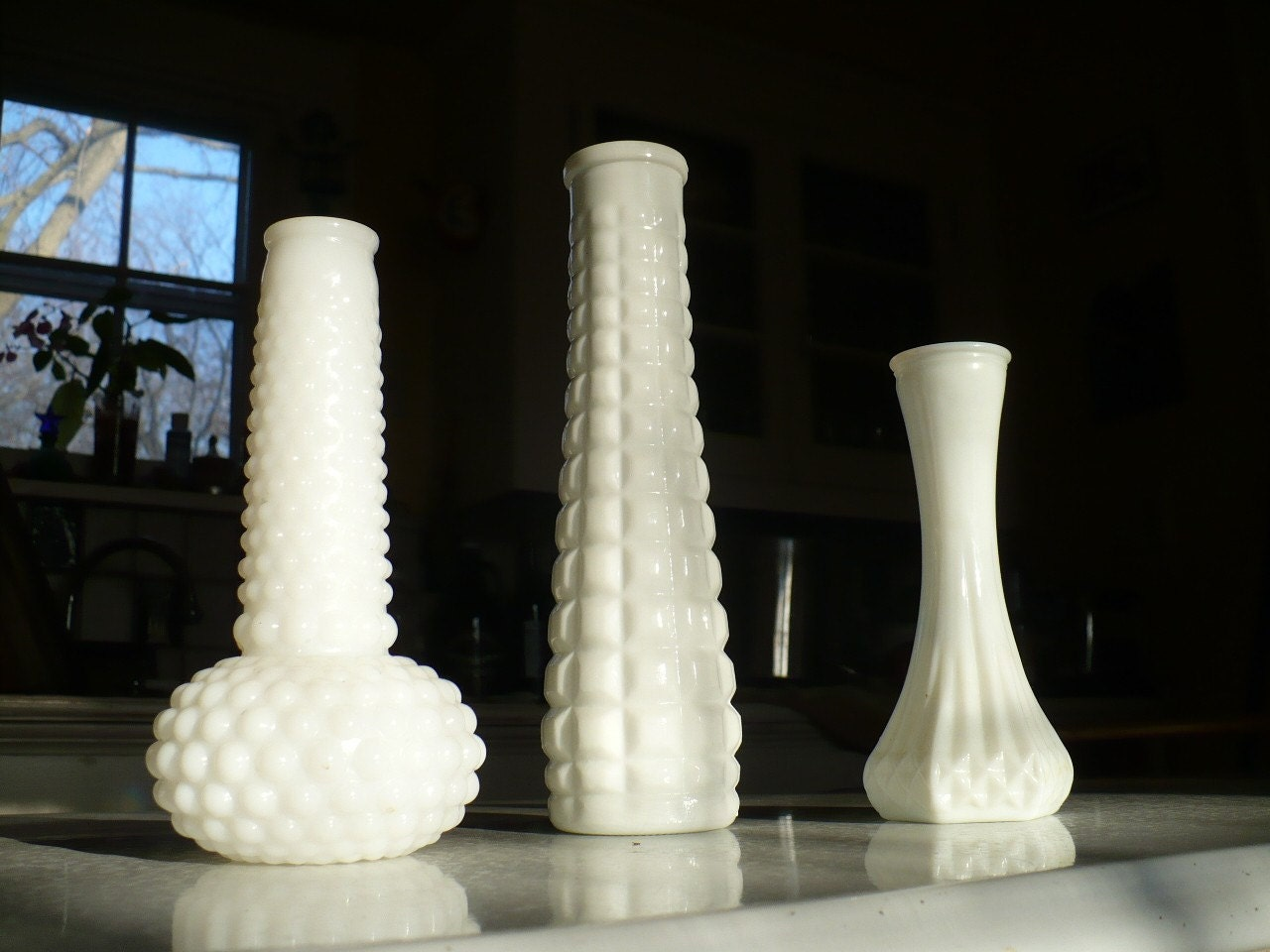 Milk Glass Vase Set -2