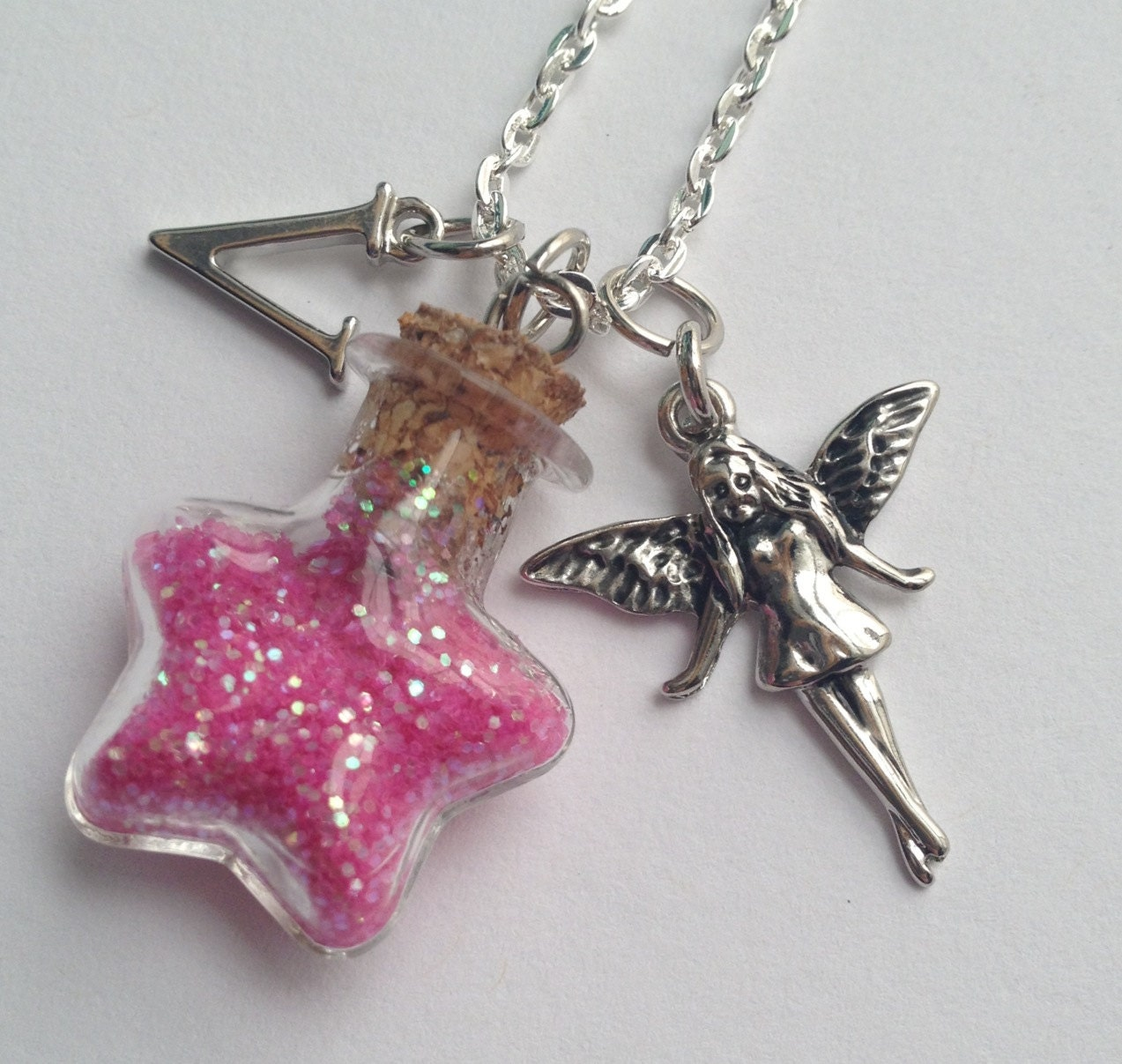 Personalized Pink Fairy Dust Glass Star Necklace