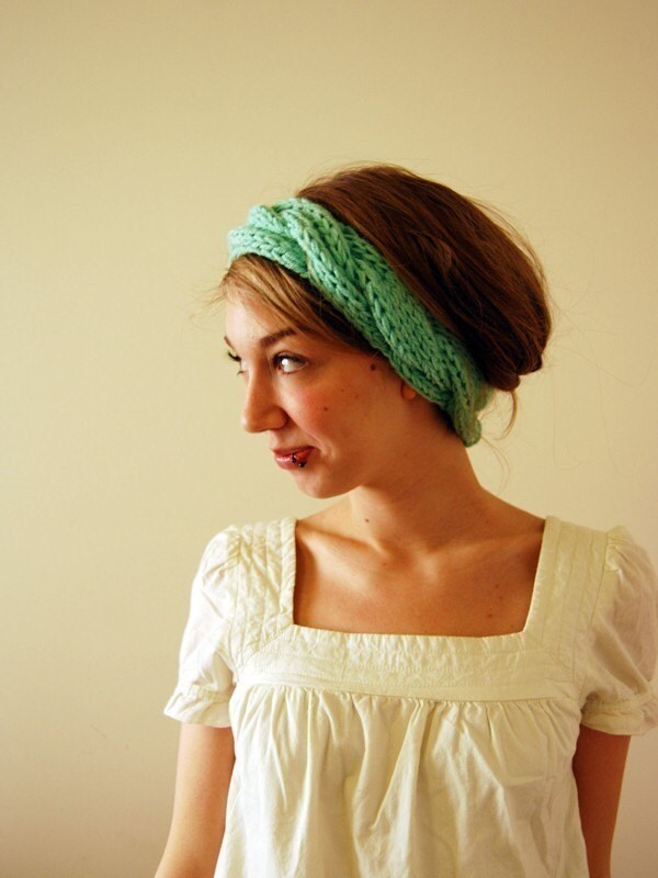 Braided Maiden Headband/Ear Warmers in Mint
