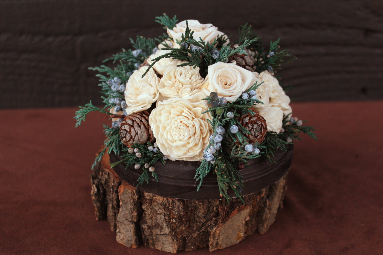 Etsy Wedding Cake Decorations : Rustic Winter Rose Wedding Cake Topper by SmokyMtnWoodcrafts