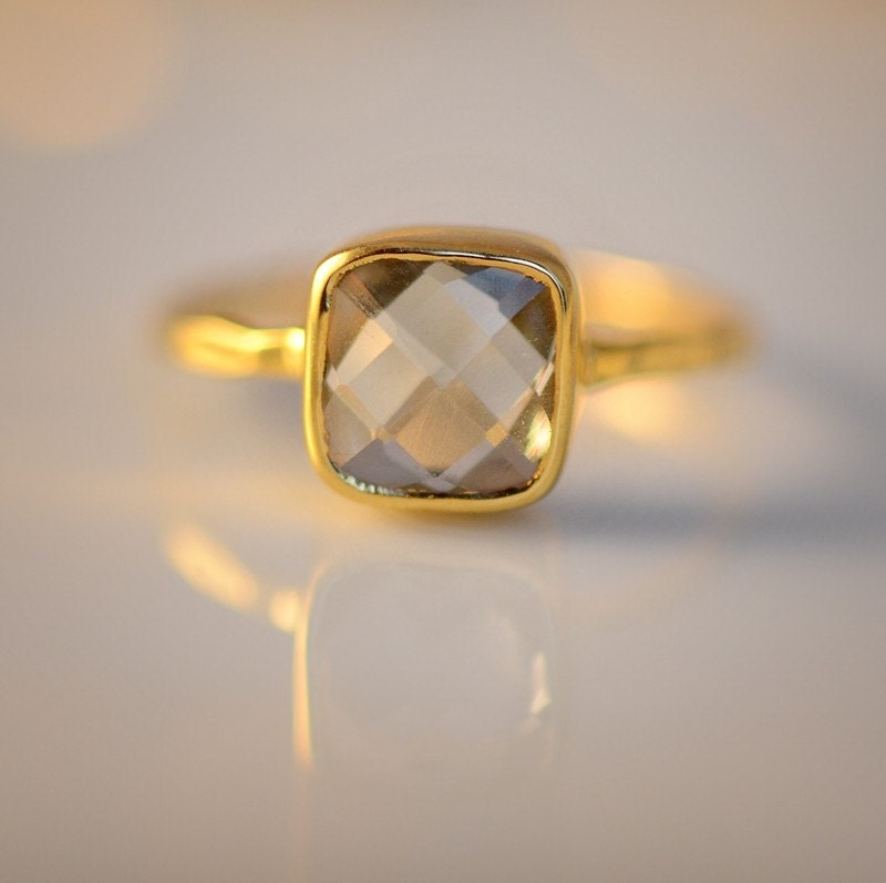18K Hammered Gold Vermeil and Real Faceted Green Amethyst Ring