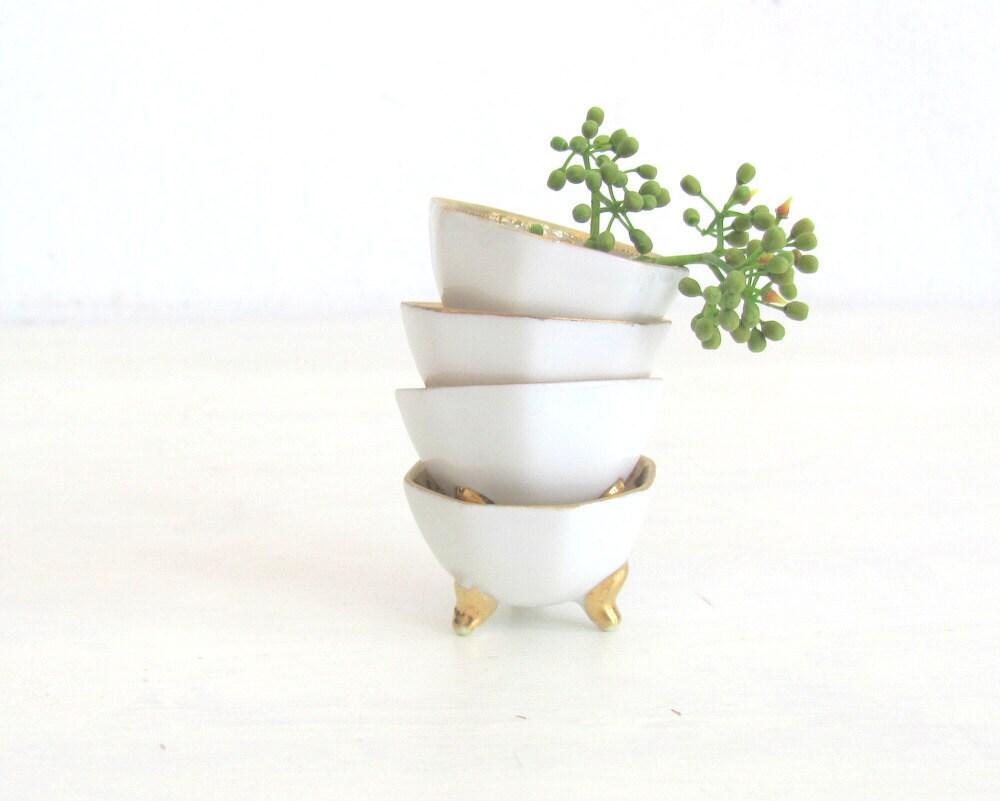Christmas in July Vintage Salt Cellars Tea Bag Caddy White Porcelain Art Nouveau Design - NifticVintage