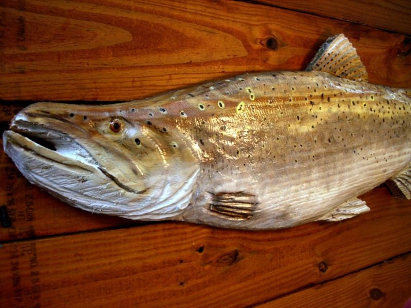 Chinook king salmon chainsaw wooden fish by oceanarts