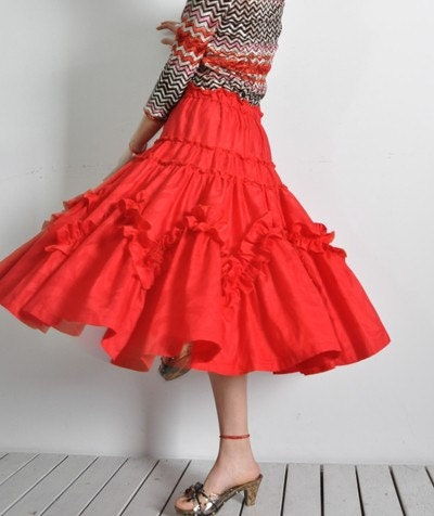 Scarlet Red Floral Jacquard Cotton Ruffles Flounce Full Pleated Circle Dancing Skirt Free Shipping International