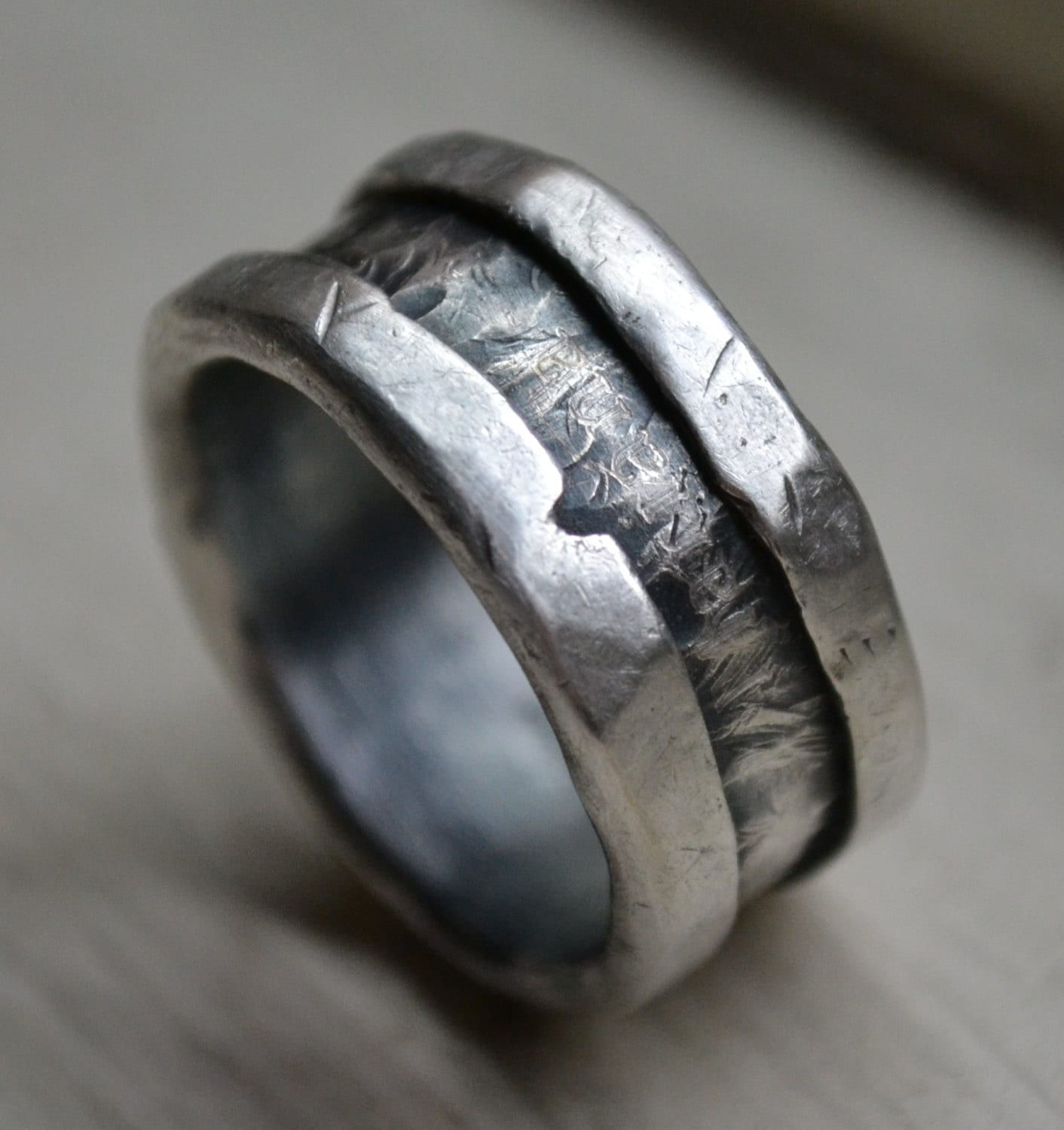 Mens Wedding Band Rustic Fine And Sterling Silver By