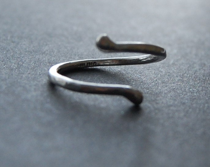 Curve Ring -Recycled Argentium Sterling Silver Hammered Open Ring - MarieCarter
