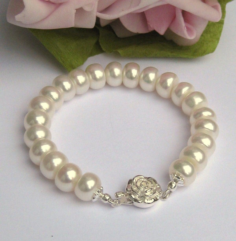 Bridal Bracelet Freshwater Pearl Wedding Bracelet Pearl Bridal JewelryIvory Freshwater  Pearl Bridal Single Strand Bracelet