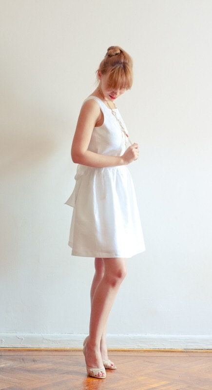 Low Back White Linen Dress with Pockets - Perfect Fit Guaranteed - Other Colors Available