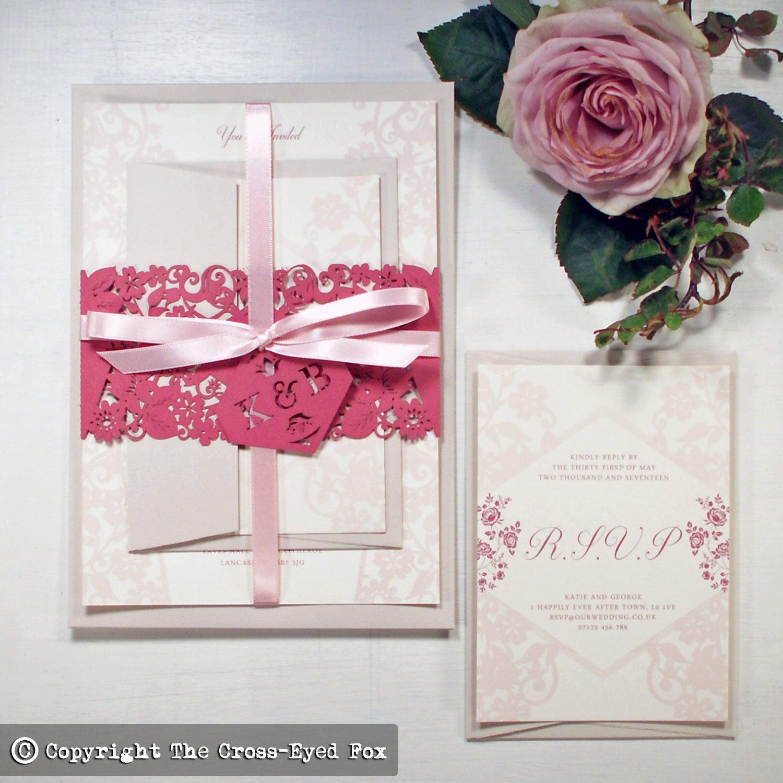Wedding invitation band Wedding stationery suite  Vintage Rose Country wedding invite Laser cut blush invitation Rustic boho wedding
