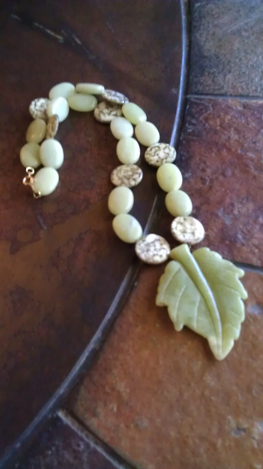 Garden Greens Leaf Mother of Pearl Jade and Jasper Beaded necklace