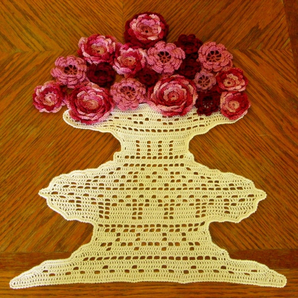 Vase of Red Roses - Fiber Art 3D Roses in Garnet Reds and Mauve Pinks, Thread Crochet