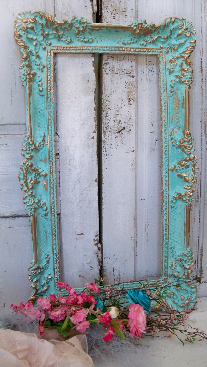 Large ornate vintage frame aqua accented gold shabby chic romantic wall home decor Anita Spero - AnitaSperoDesign