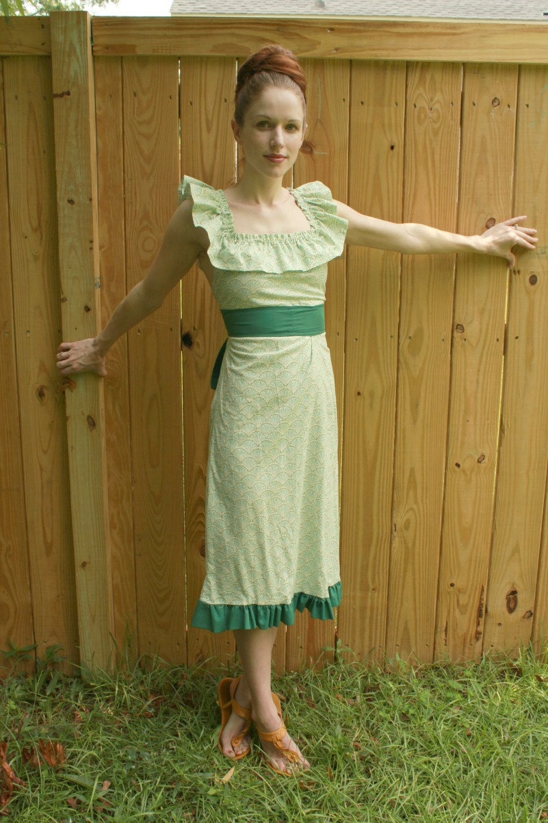 ON SALE women green dress ruffle belt long classy 1950 ladies XS, S, M and L