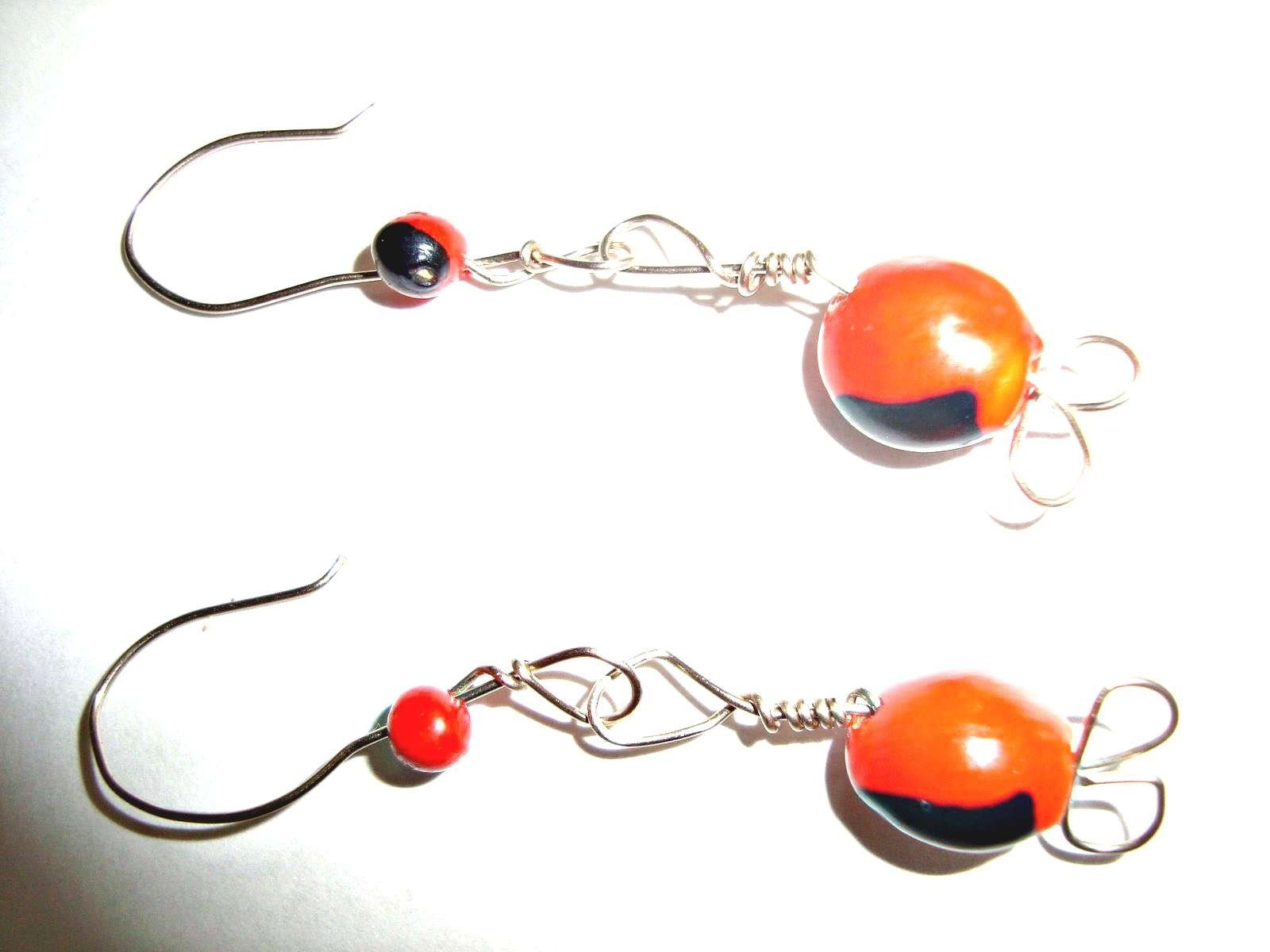 Peruvian Earrings Huayruro and Alpaca Wire Red and Black Good Luck - Avoid Evil Eye