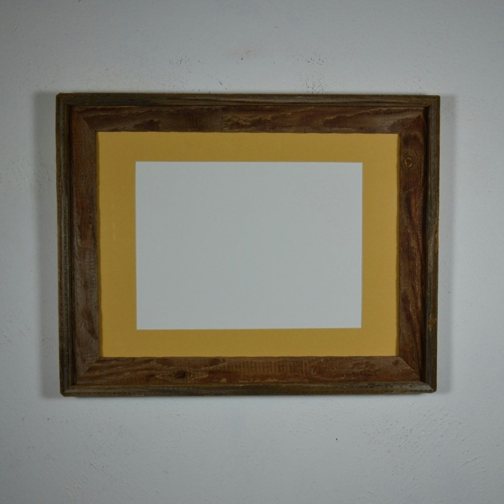 Primitive Barnwood Picture Frame 12x16 Dark Yellow By