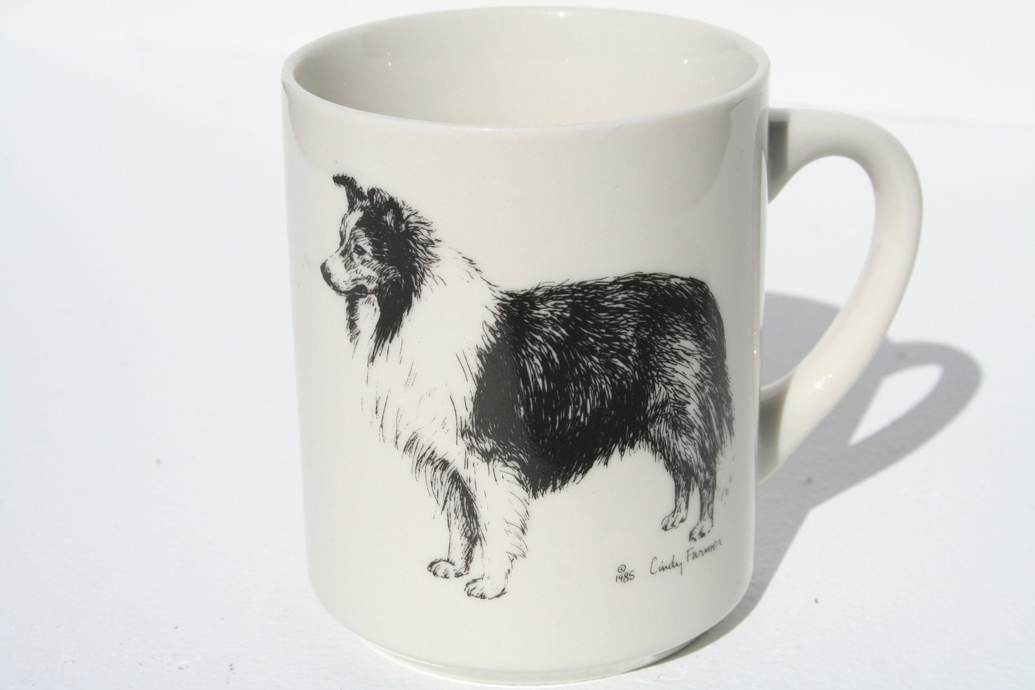 Beautiful Vintage Black and White Collie Mug