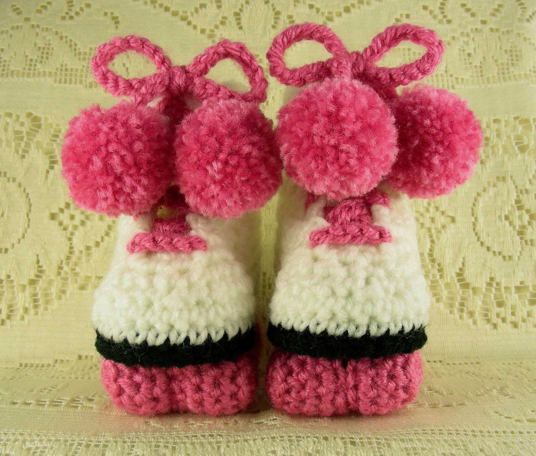 Roller Skates Baby Booties (Pink)