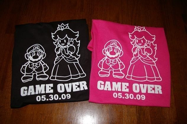 2 Mario Game Over Wedding T-shirts Groom Bride. From SomethingBlueDesigns