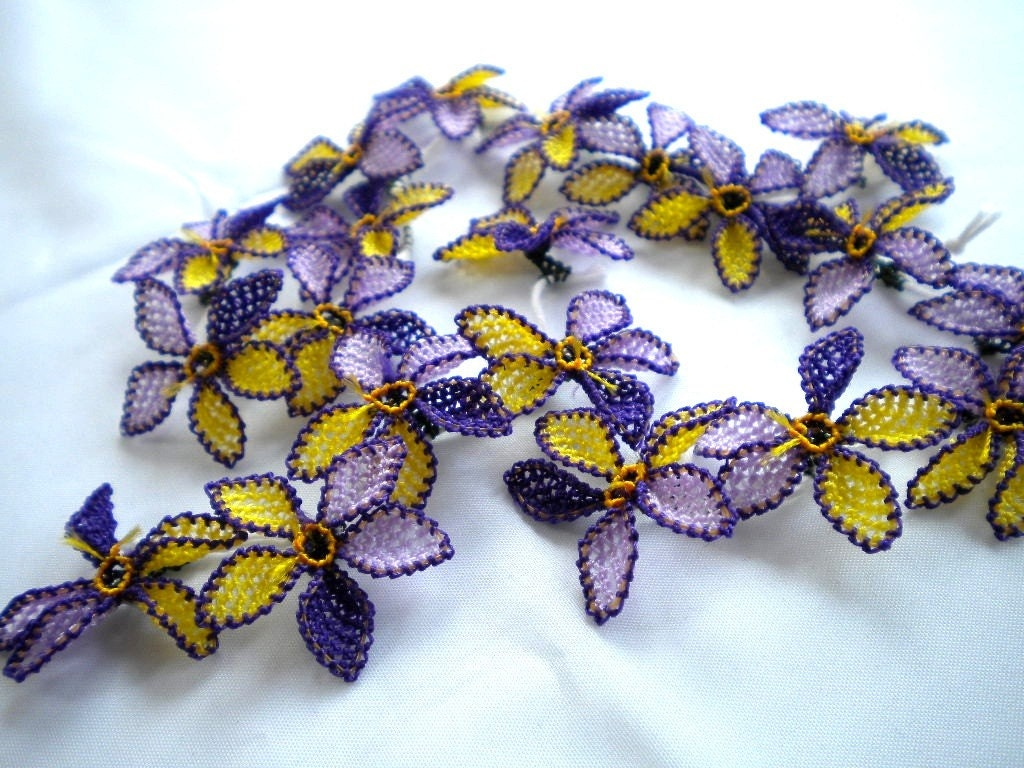 PURPLE VIOLET AND YELLOW OYA FLOWER TRIM