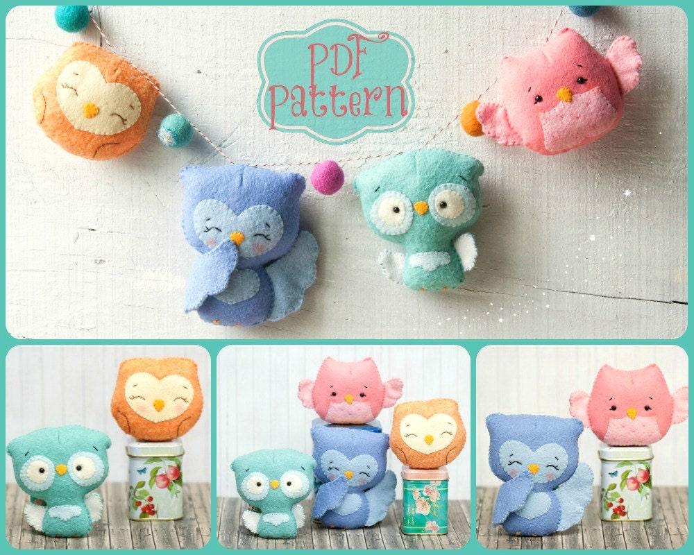 PDF. Owl family garland. Plush Doll Pattern Softie by Noialand