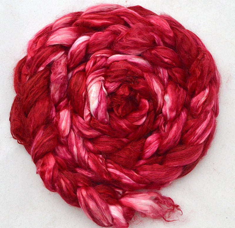 "Pure cultivated silk top, 1 oz  ""Cranberry"" - TheCopperCorgi"
