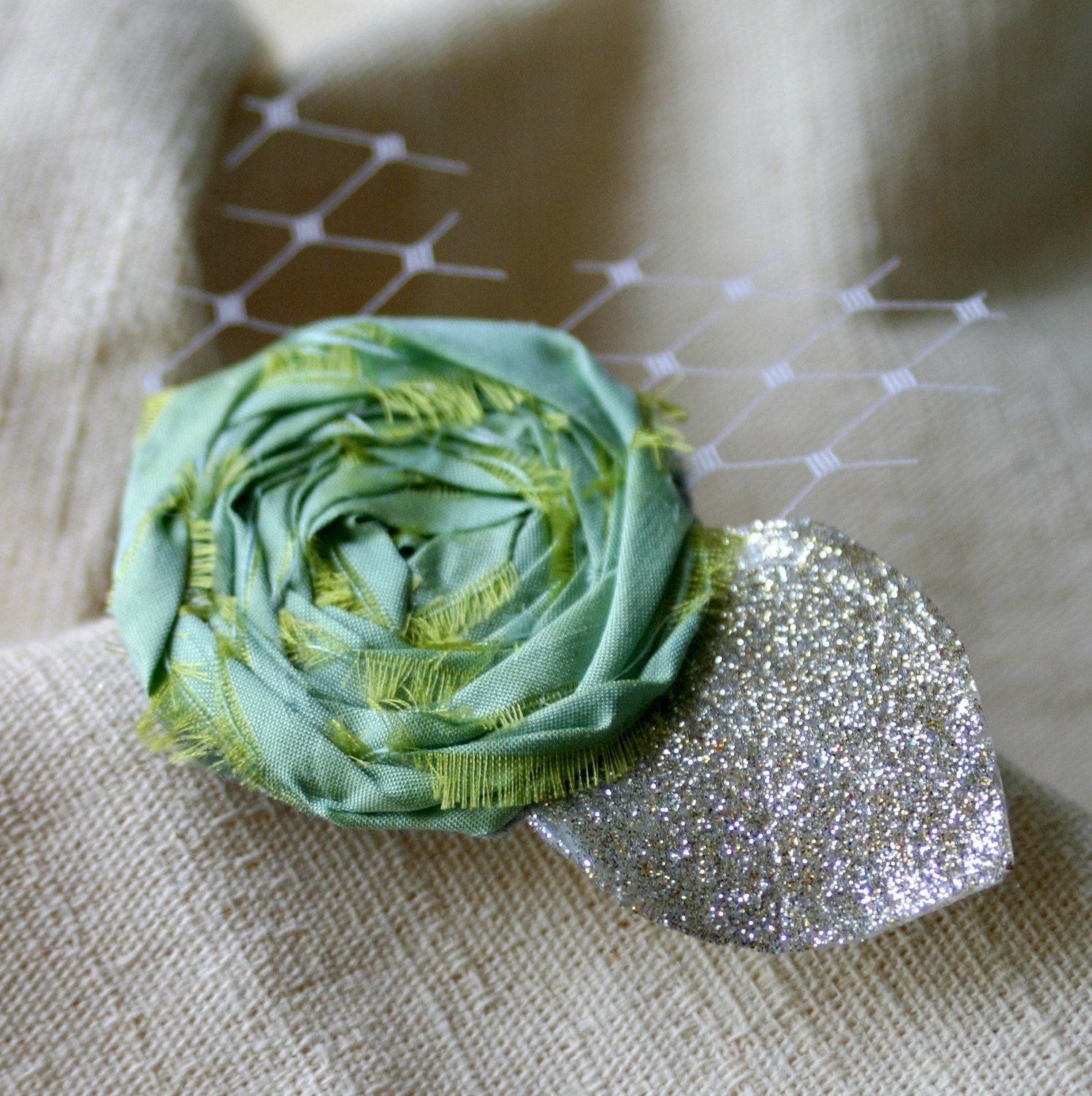 Wedding, Accessories, Silk Rosettes, Hairclip, Mint Green Silk Rosette Clip - Wedding Accessories by frostingcoutureshop on etsy