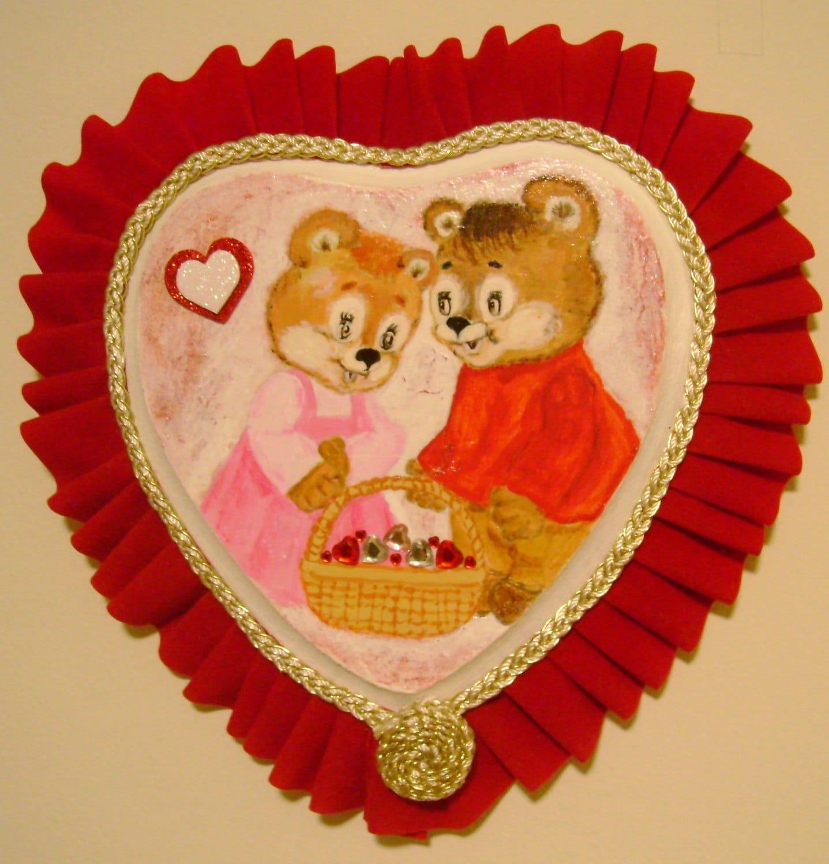 Modern101 My New Artwork Romantic Heart With Teddy Bears