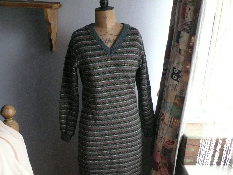 1970/s fairisle woolen sweater dress