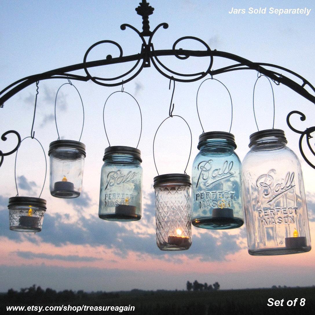 Hanging Candle Lanterns Flower Tower Lantern Wedding: 8 DIY Ball Jar Lanterns Lids Mason Jar Lanterns By