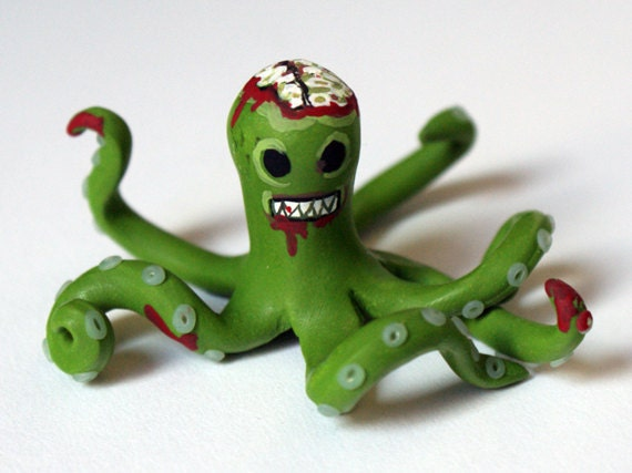 Hungry Zombie Octopus figure polymer clay art gift
