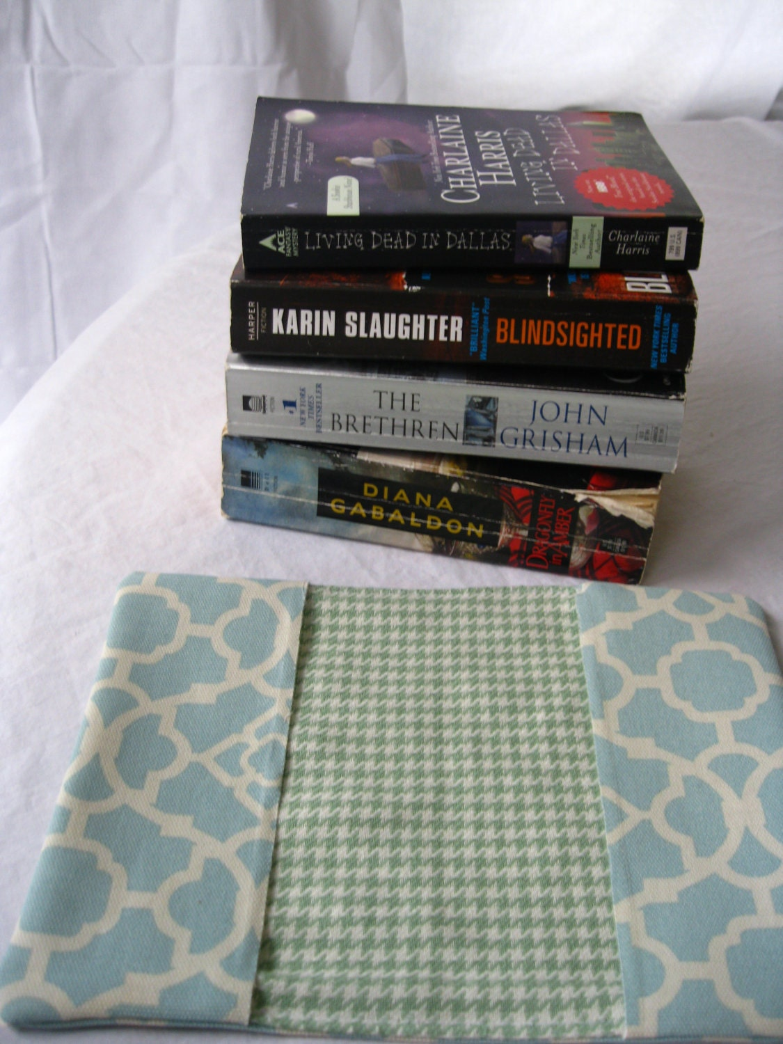 Upcycled Book Cover-- Trade Paperback  Aqua Blue Grapics on Cream Canvas with Green Houndstooth Lining