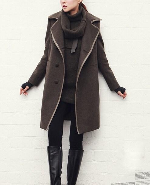 Dark Gray / Beige wool women coat women dress coat Apring Autumn Winter --CO093 - happyfamilyjudy
