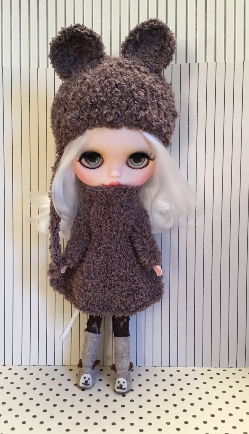Blythe doll  outfit  hand knitted in super soft teddy yarn dress and matching bear hat