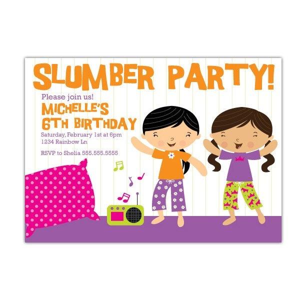 Slumber Party Custom Printable Invitation. From stockberrystudio