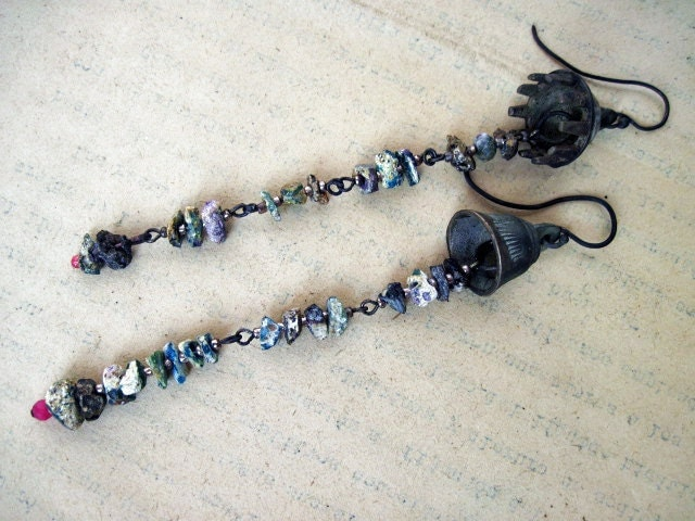 The Scholar. Victorian Tribal Assemblage earrings with Roman Glass.