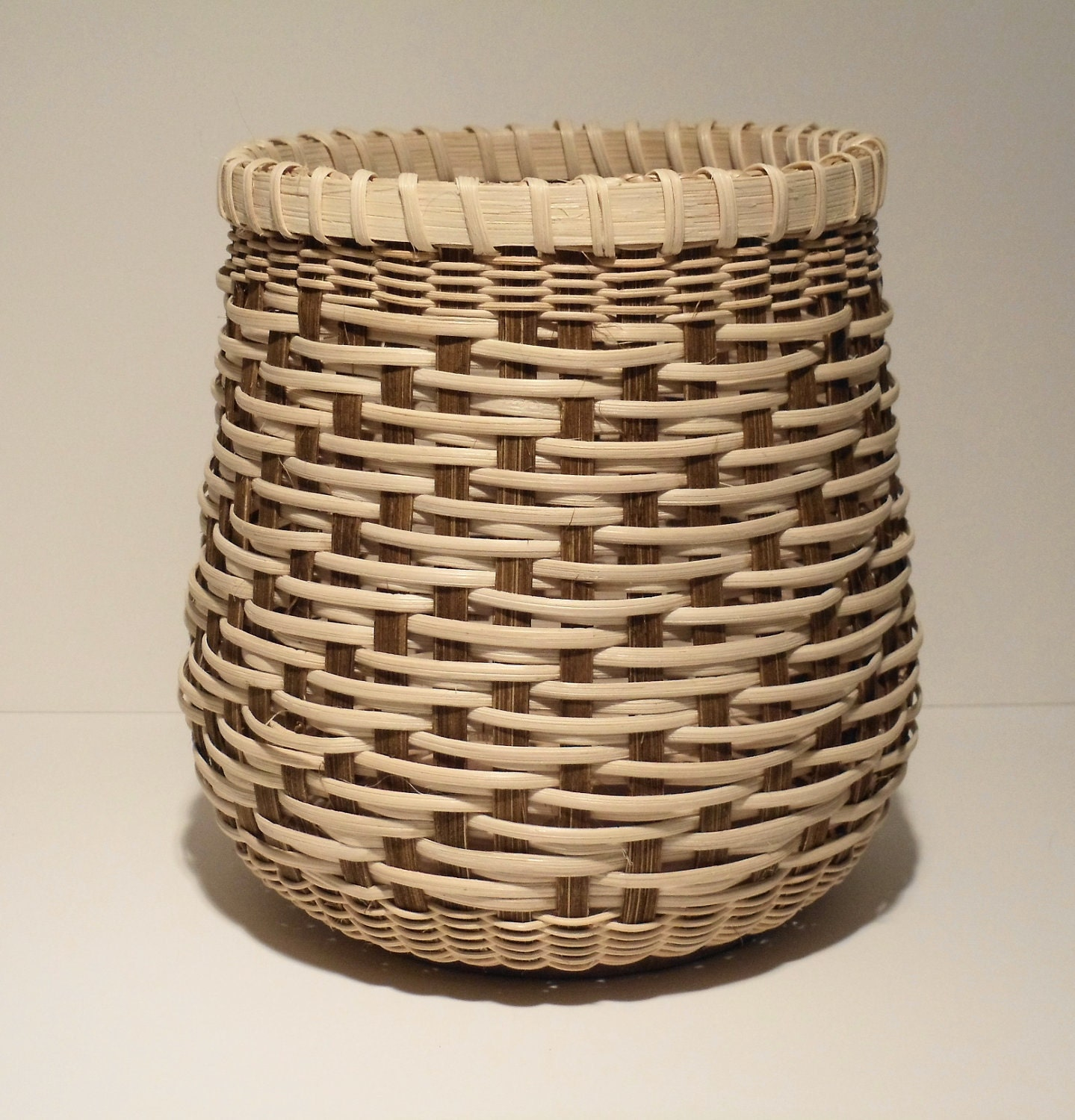 Basket Weaving With Reeds : Woven twill basket in brown and natural reed by