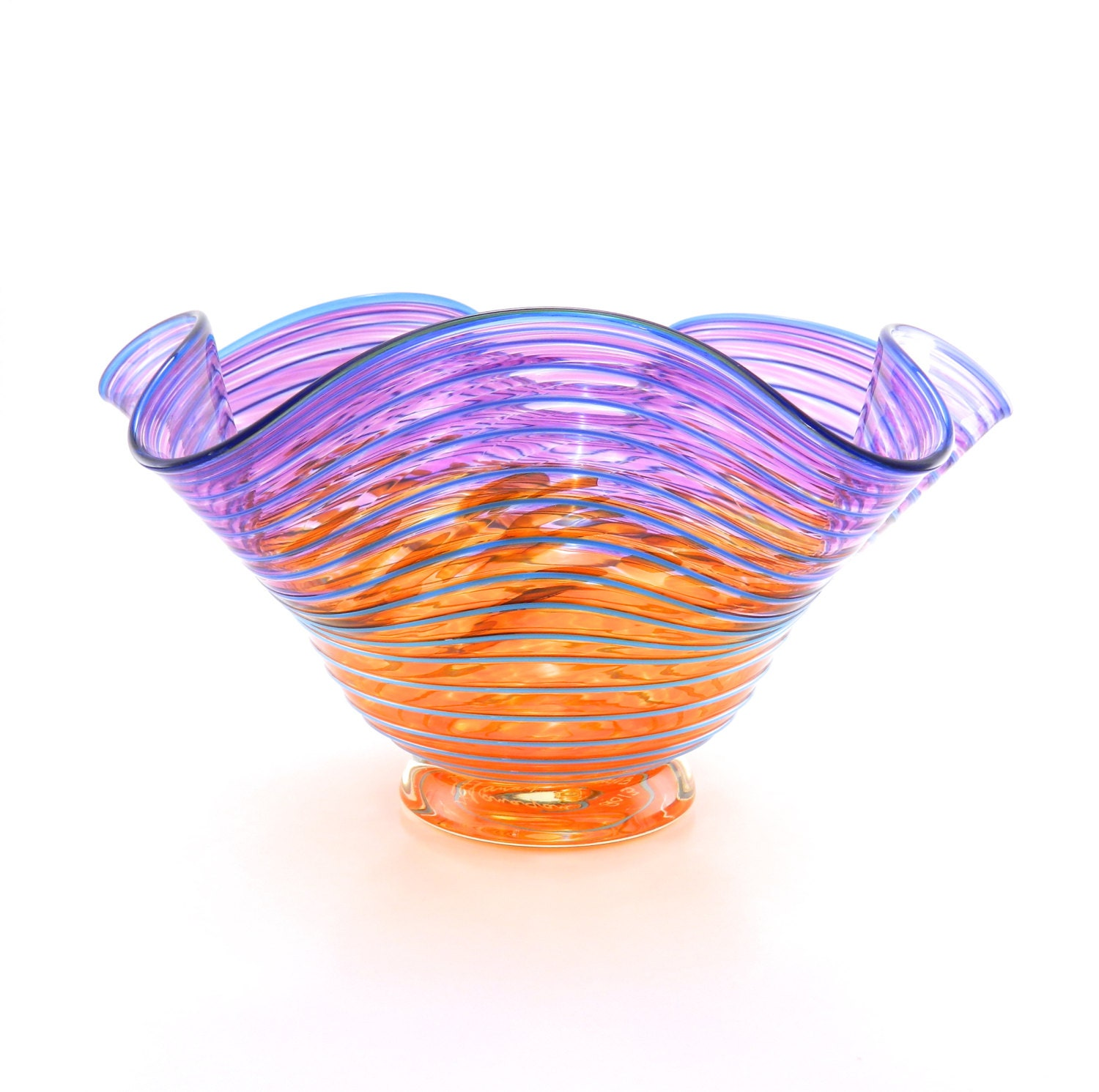Hand Blown Art Glass Bowl - LARGE - Purple, Orange, and Aqua Blue - Fluted - Freeform - Wavy - Sunset - Tropical - ParadiseArtGlass