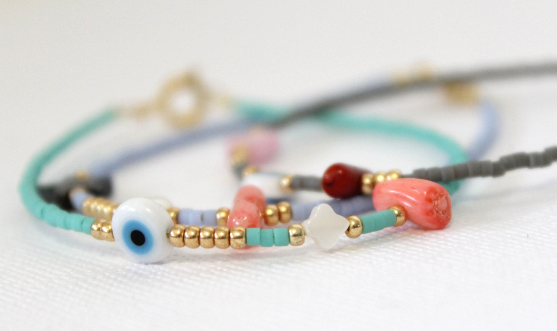 Pastel Beaded Bracelet - Sea Green Bracelet - Evil Eye Bracelet - Summer Bracelet - Delicate Bracelet - lizaslittlethings