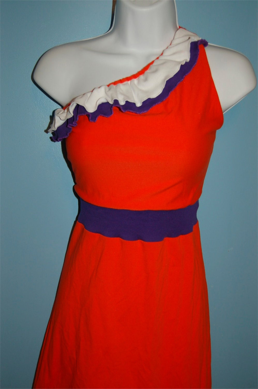 One Shoulder Orange and Purple Dress with Ruffles at Neck Size XS to L
