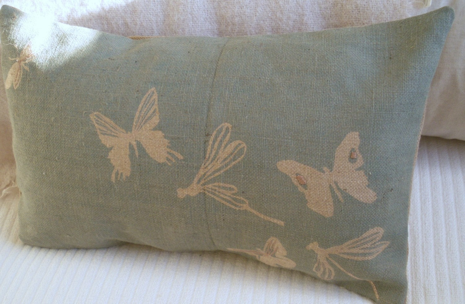 hand printed rustic hessian  butterfly and dragonfly cushion cover