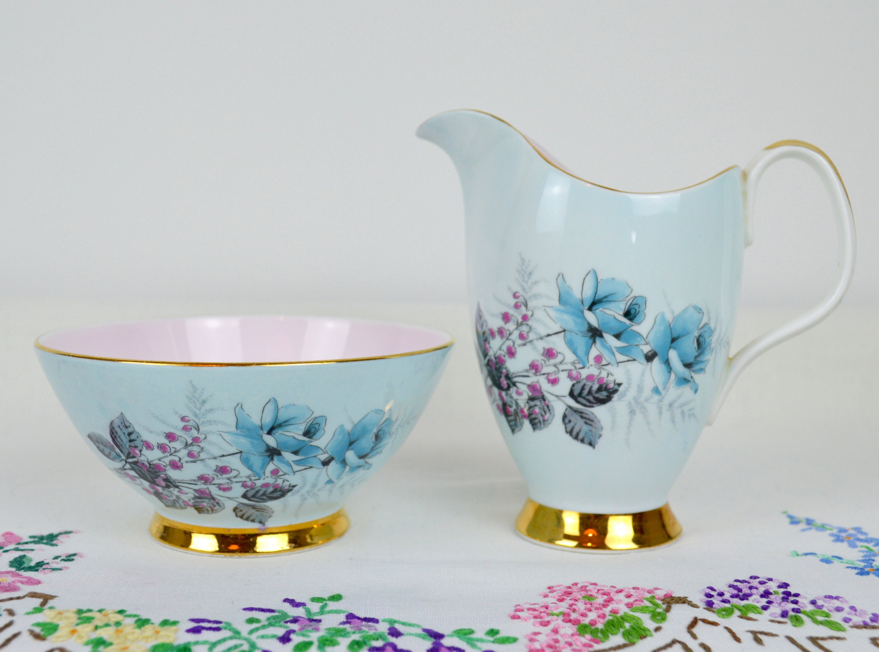china milk and sugar set by royal imperial in pretty pale blue and pinks